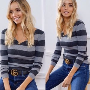 GEORGIA Striped Knit top - CHARCOAL